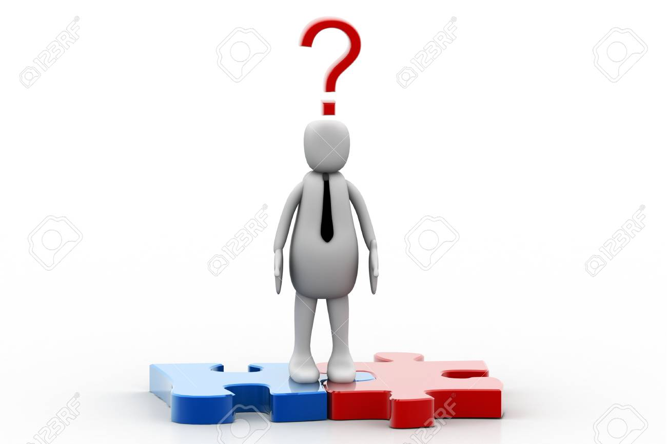 3d person and question mark in white background Stock Photo - 8514227