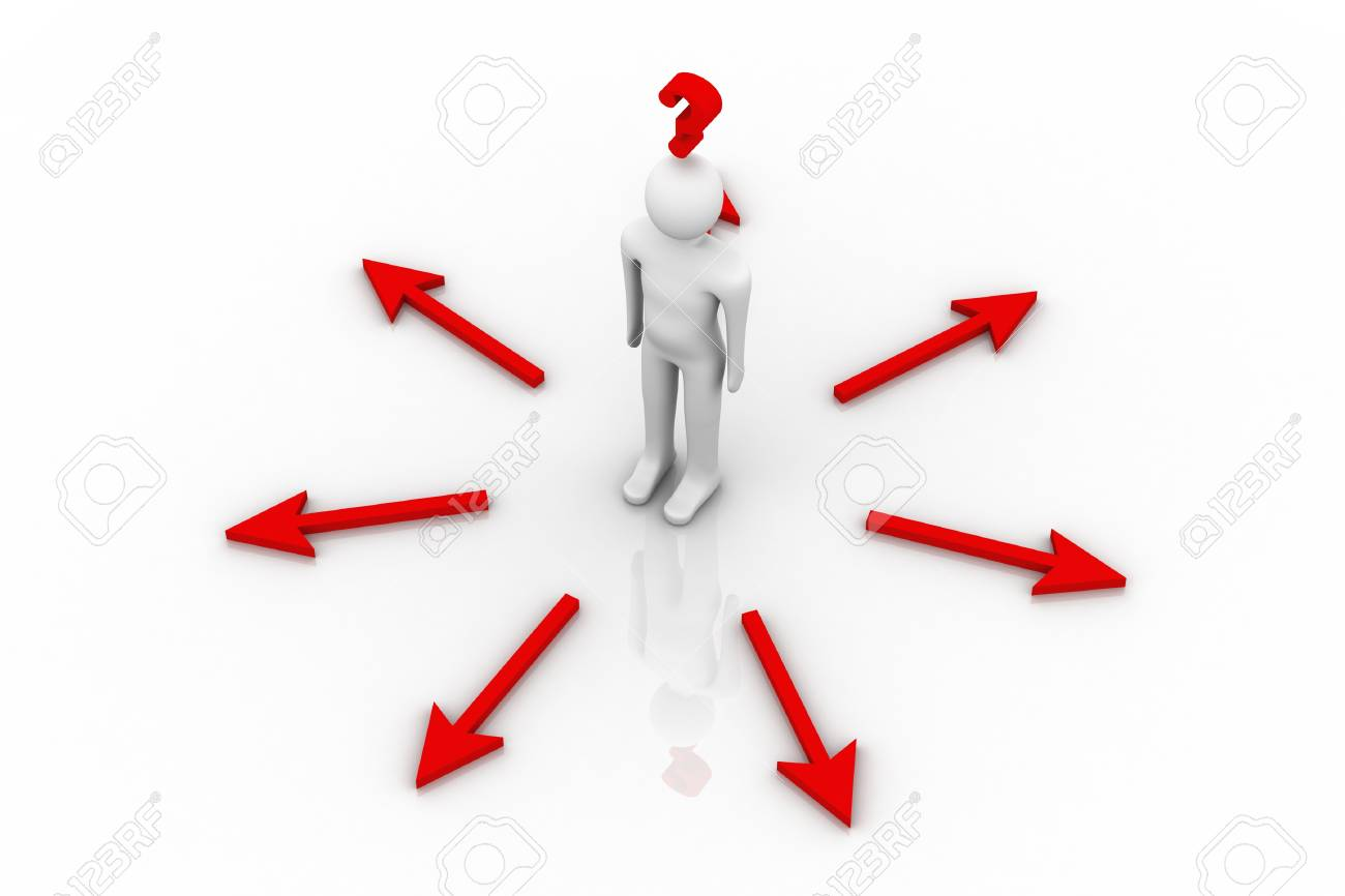 3d person and question mark in white background Stock Photo - 9206282