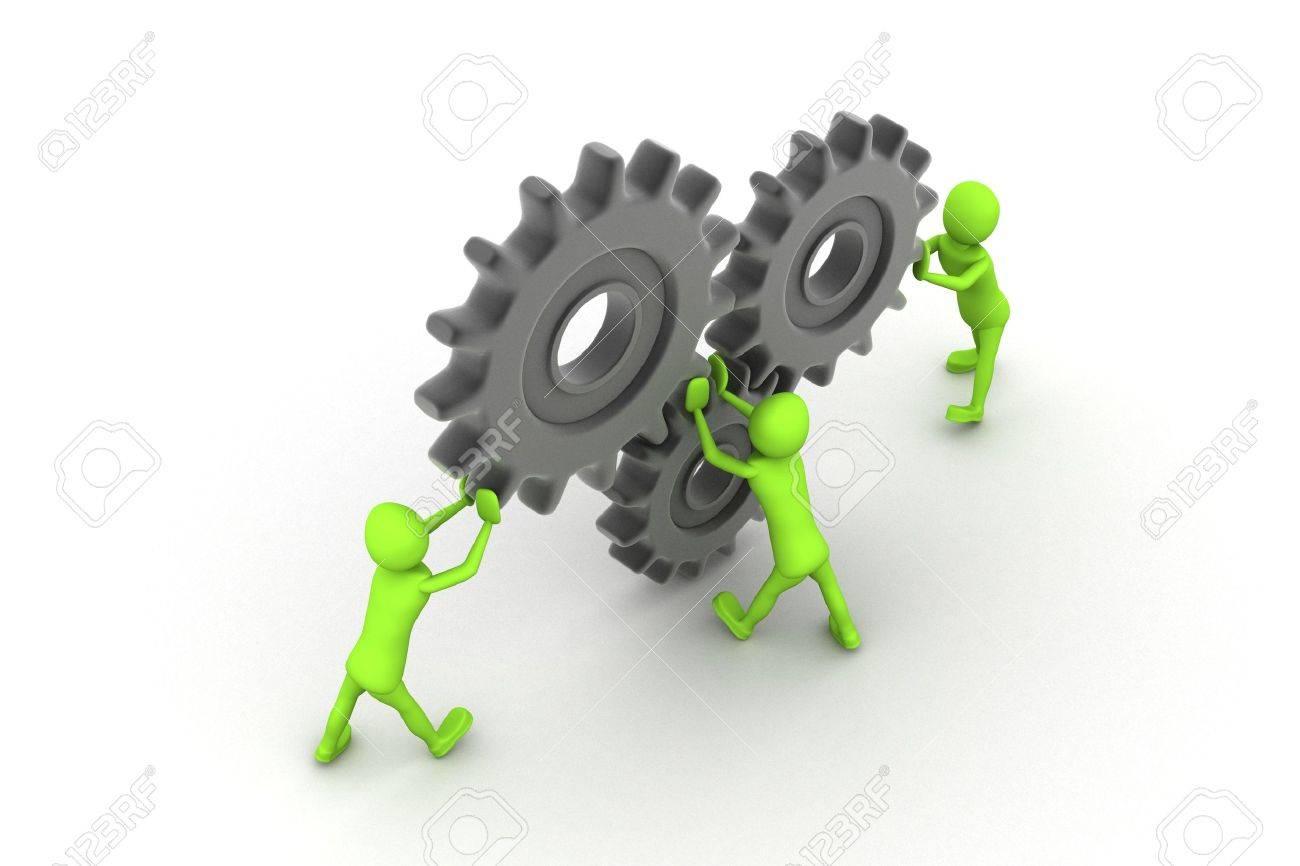 Teamwork with gears Stock Photo - 9288422