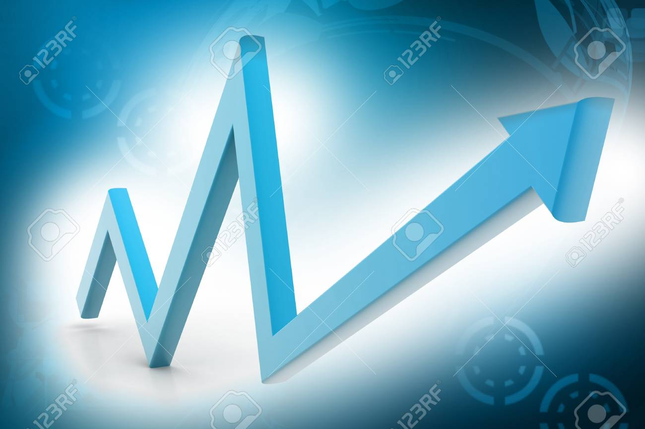 The arrow represented increasing marketing in color background Stock Photo - 9597600