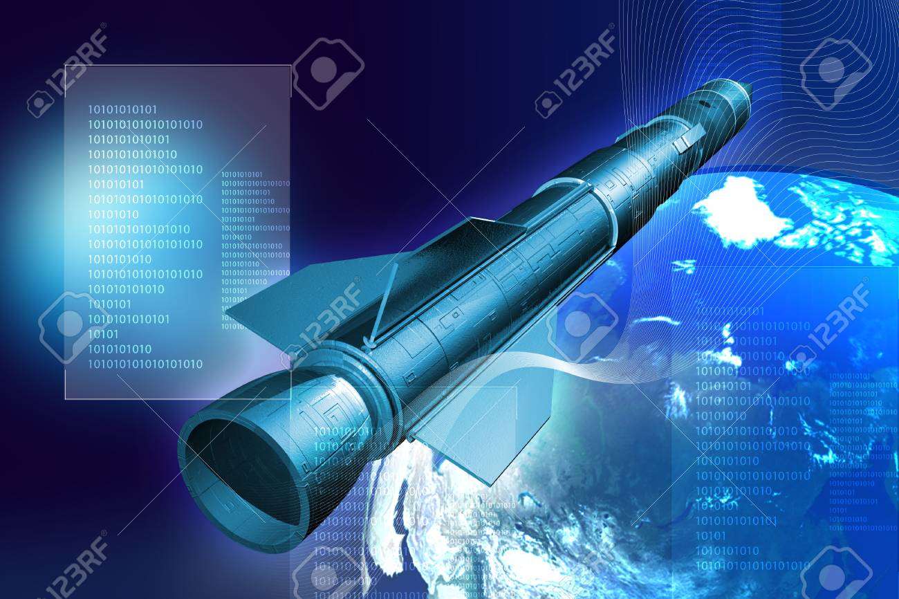 Rocket and Earth in digital background Stock Photo - 9751009