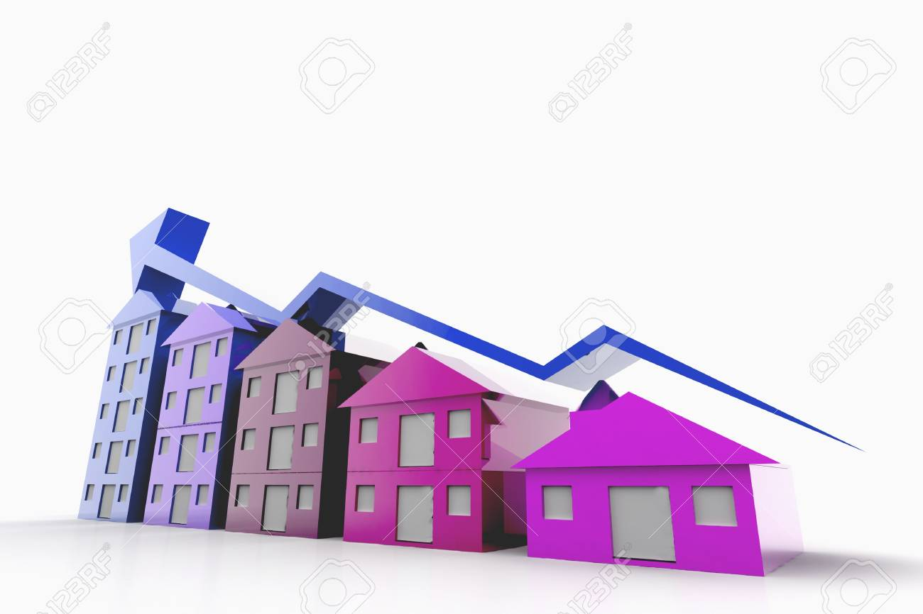 Graph houses in isolated background Stock Photo - 9746647