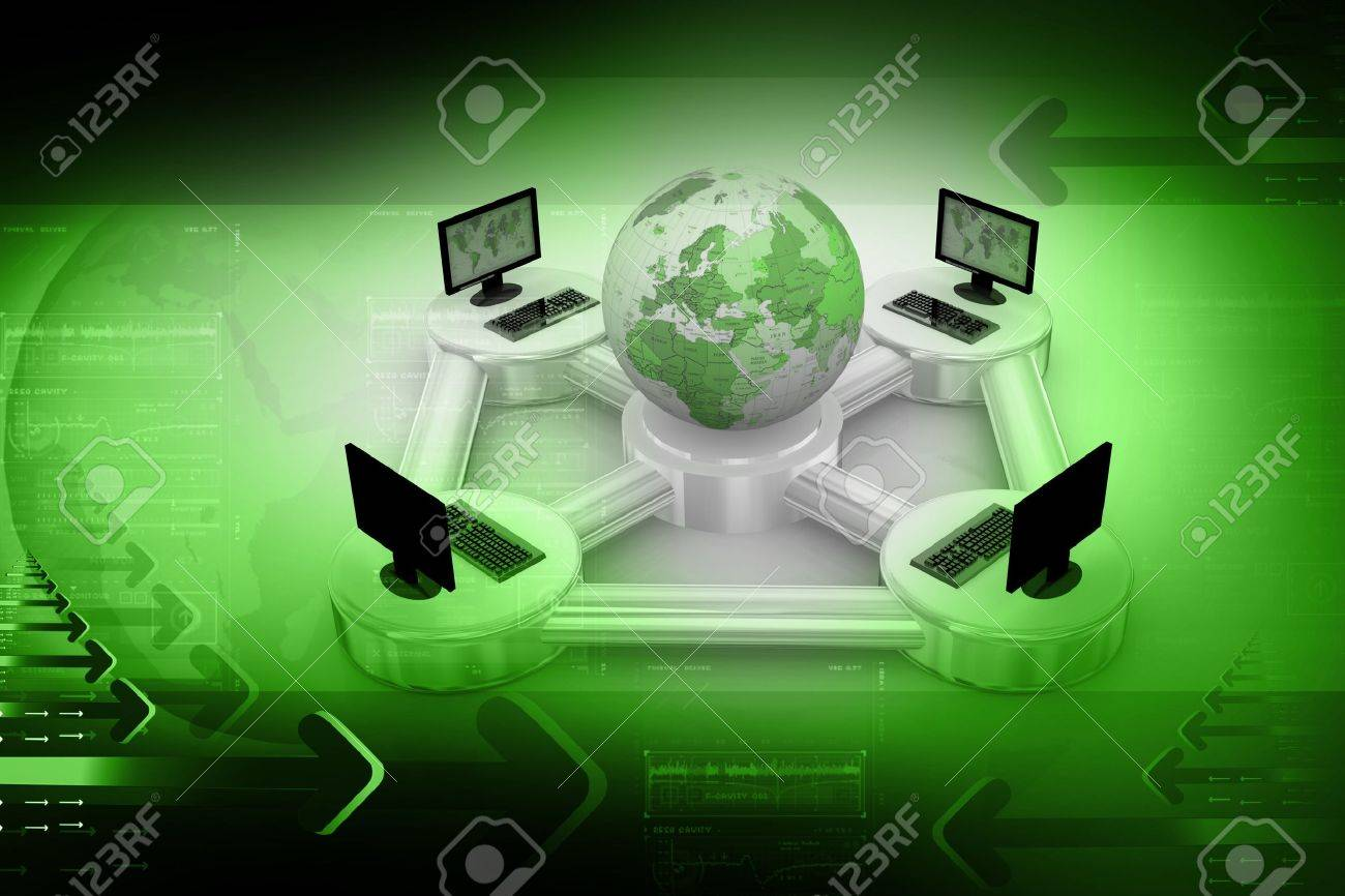 Computer Network in abstract background Stock Photo - 9776164