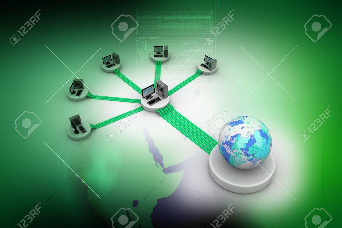 Computer Network in abstract background Stock Photo - 9776094