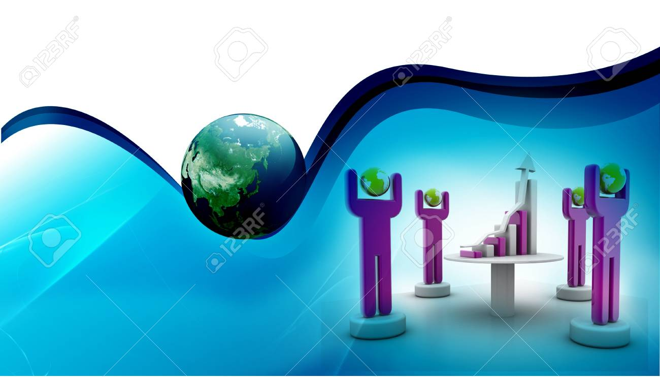 3d rendering of people around graph in abstract  background Stock Photo - 9823195