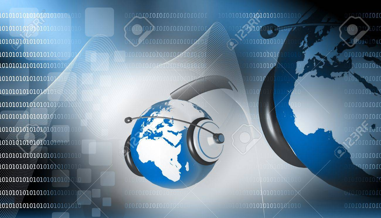 A headset on world globe in abstract background Stock Photo - 9823341