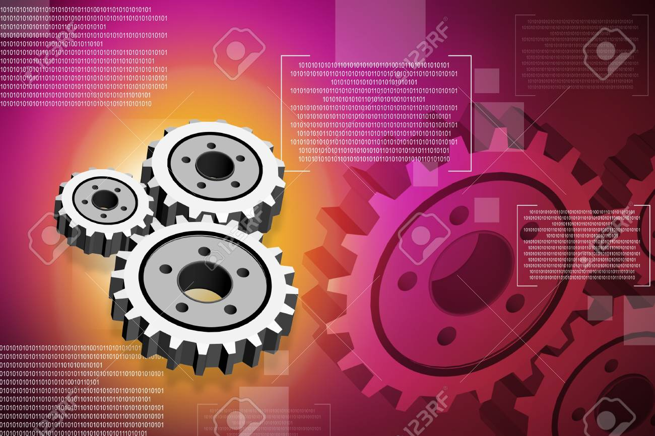 Digital illustration of gear in abstract background Stock Photo - 9992185