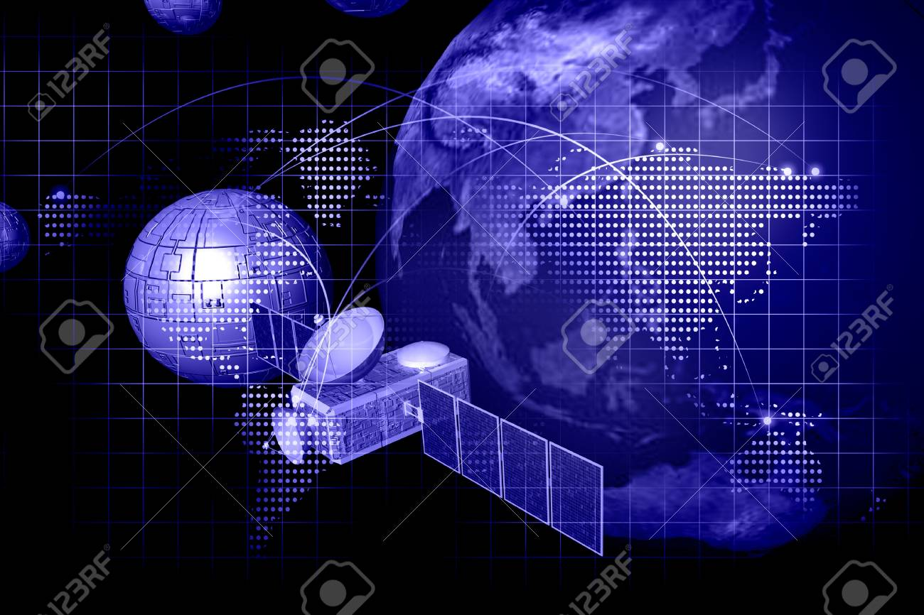 satellite  in abstract   background Stock Photo - 10160071
