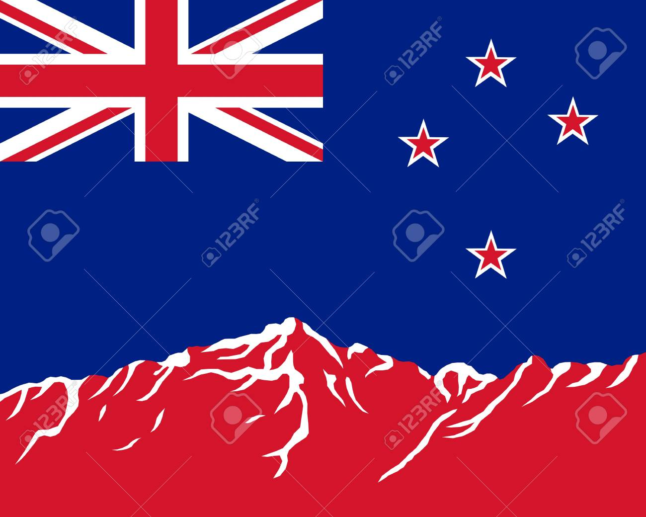 Mountains with flag of New Zealand Stock Vector - 8923583