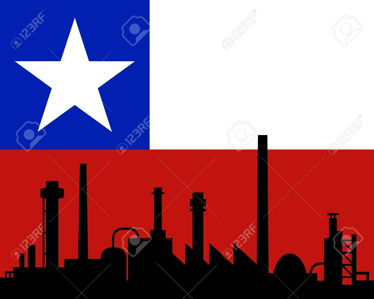 Industry and flag of Chile Stock Vector - 11559609
