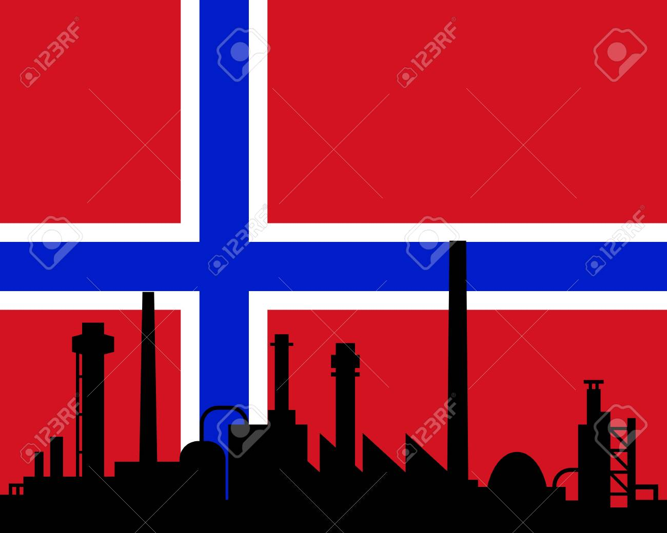Industry and flag of Norway Stock Vector - 12493334