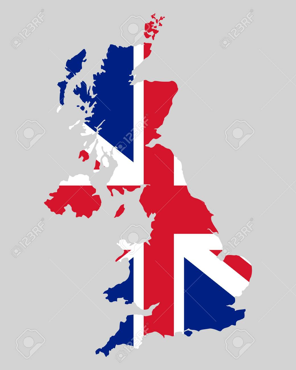 Map and flag of United Kingdom - 16162324