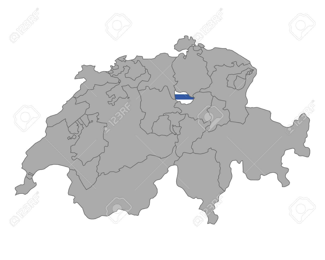 Map Of Switzerland With Flag Of Zug Royalty Free Cliparts Vectors