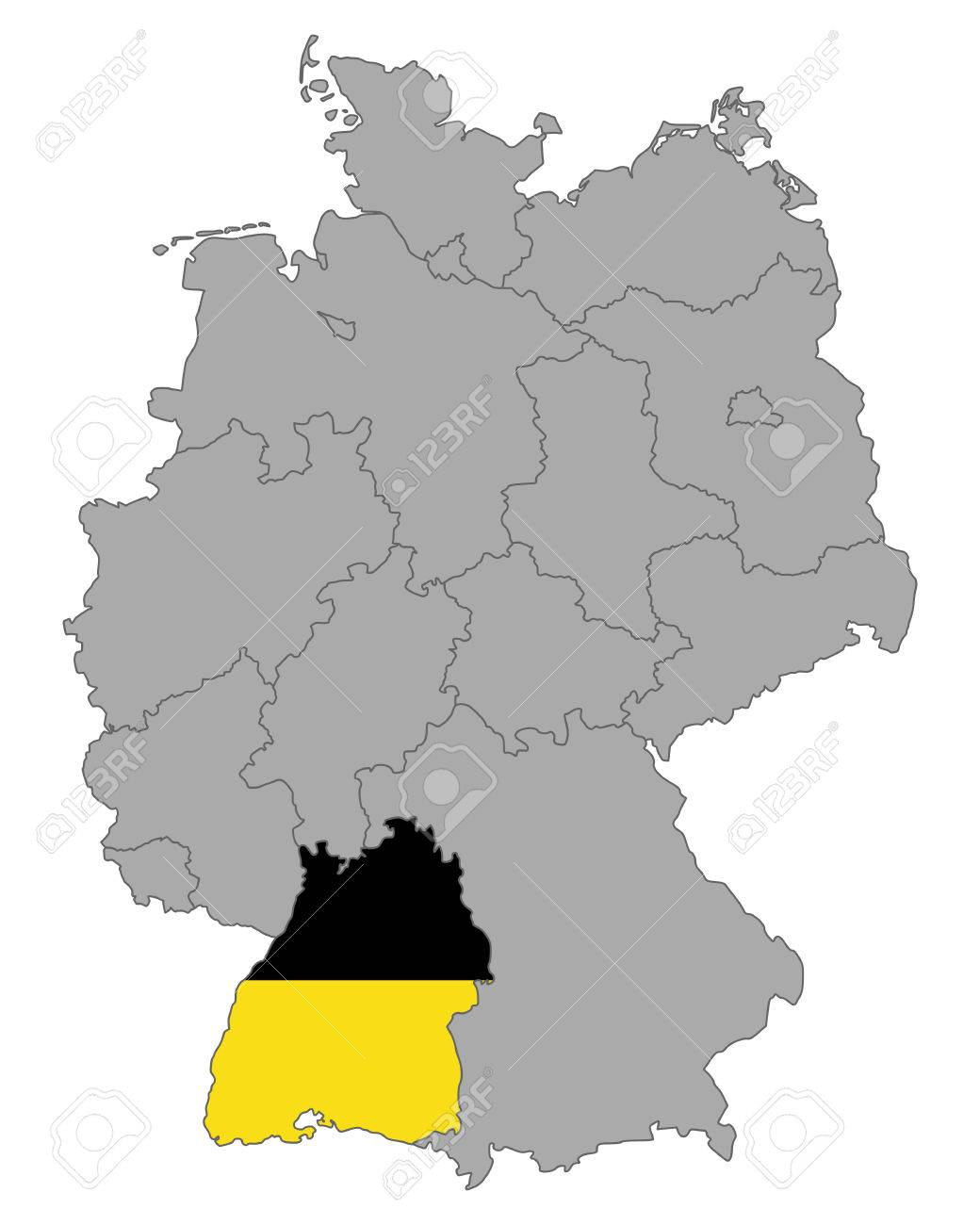 Map Of Germany With Flag Of Baden Wuerttemberg Royalty Free