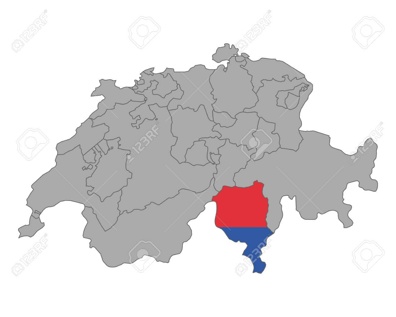 Map Of Switzerland With Flag Of Ticino Royalty Free Cliparts