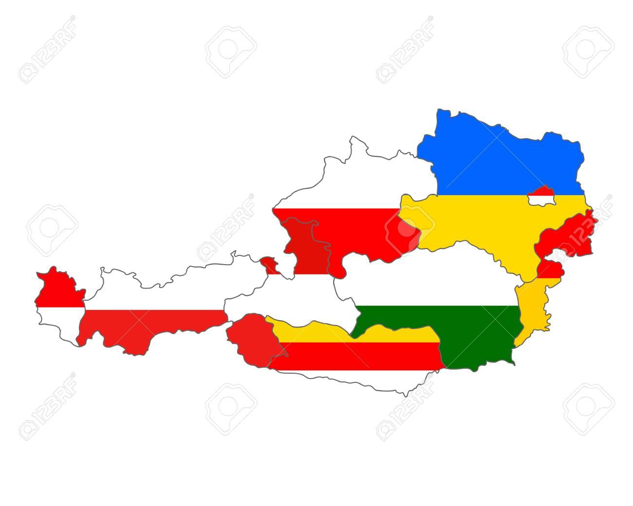 オーストリアの州の旗のマップ ...