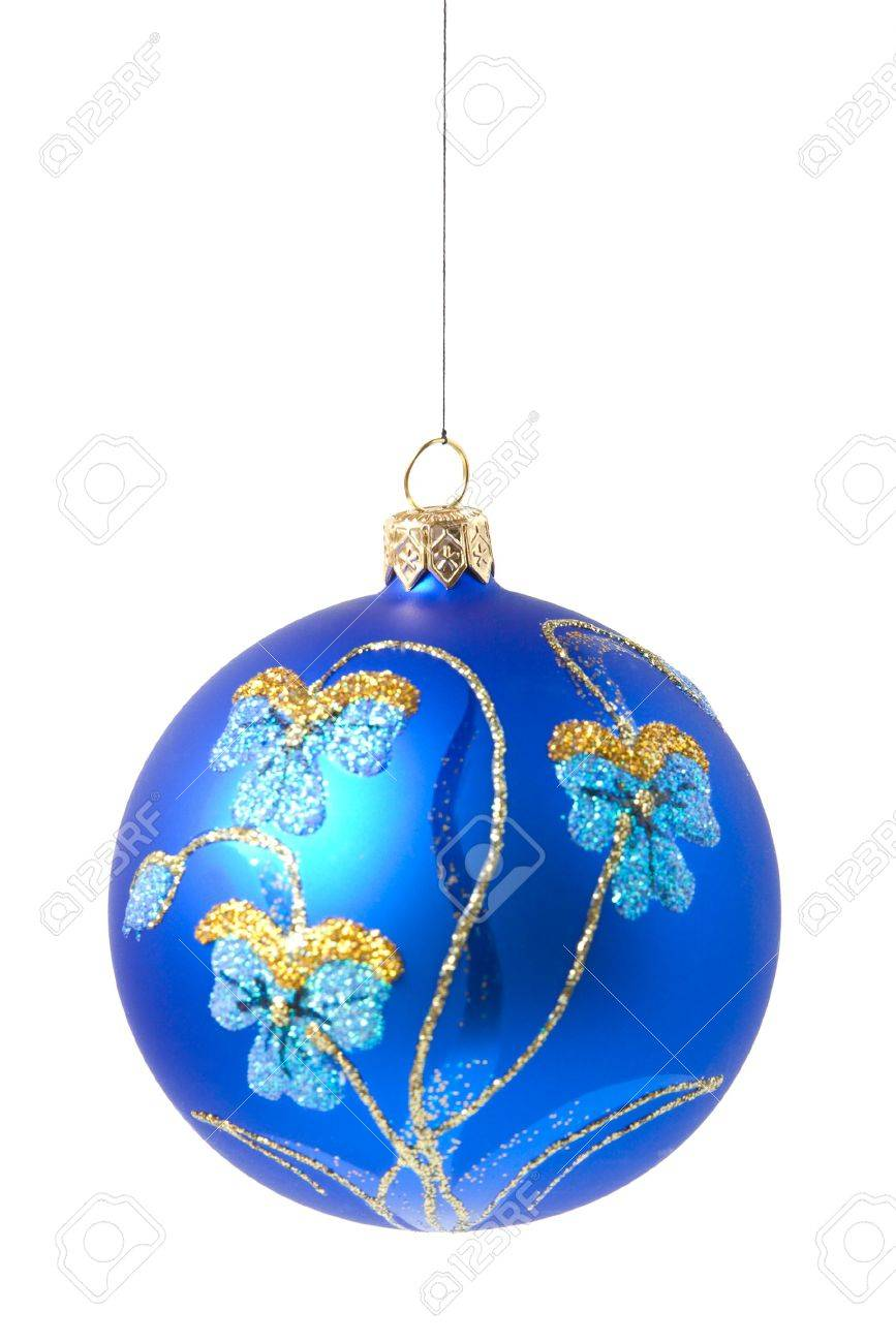 Blue Christmas Ball With Ornament Stock Photo, Picture And Royalty ...