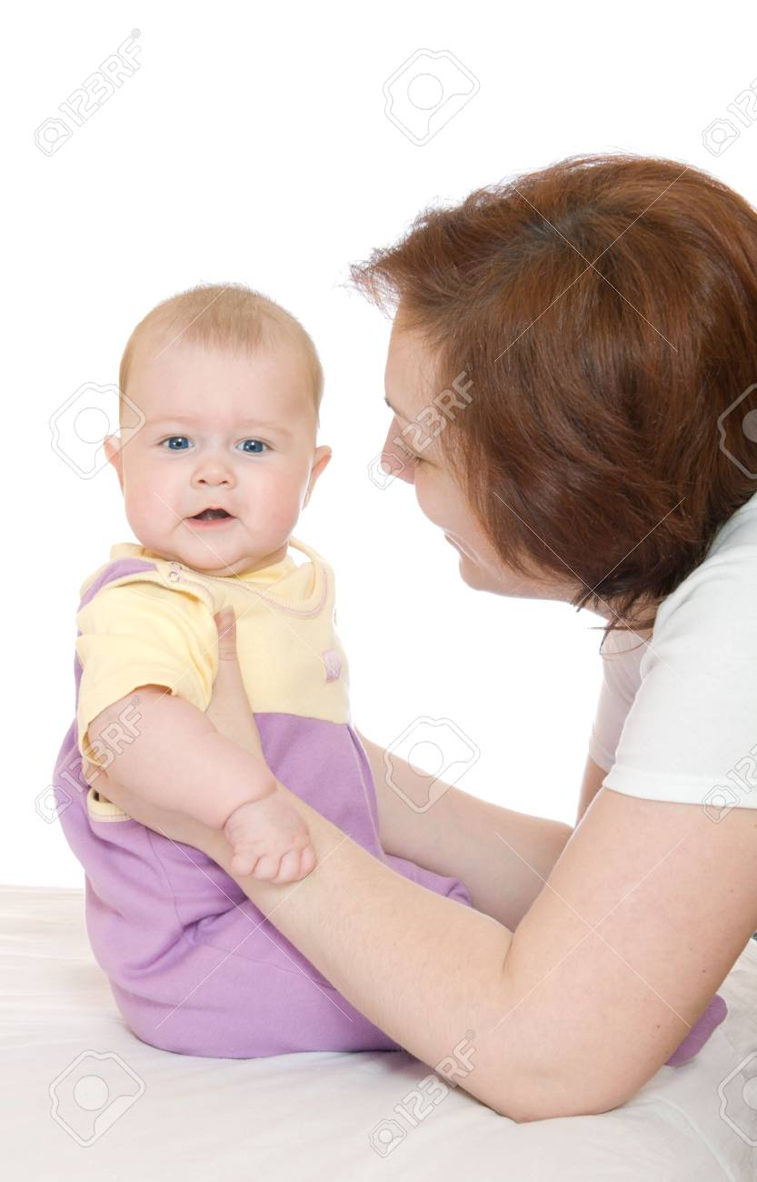 Small baby with mother isolated on white Stock Photo - 2782857