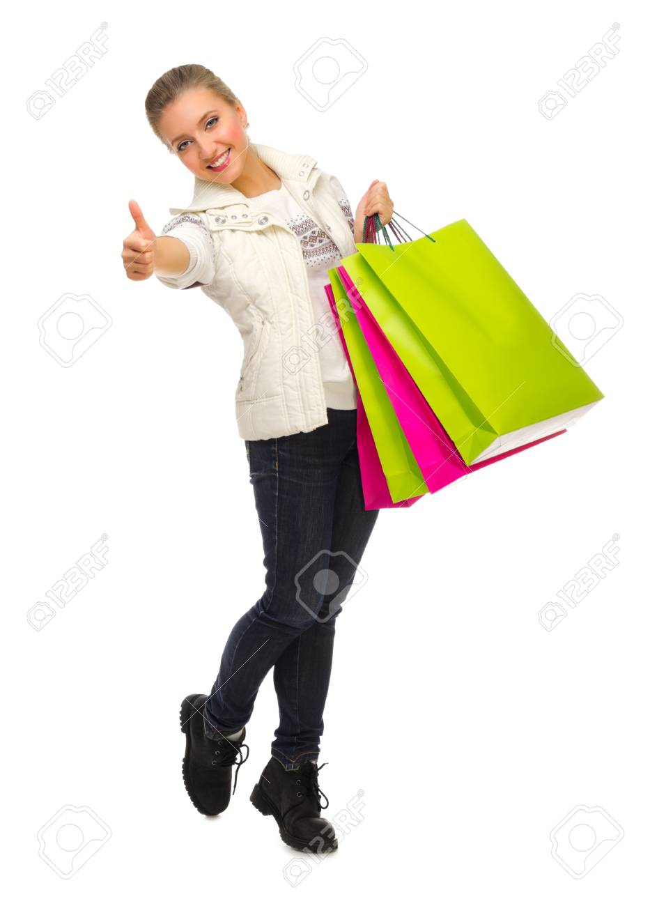 Young girl with bags isolated Stock Photo - 16406717
