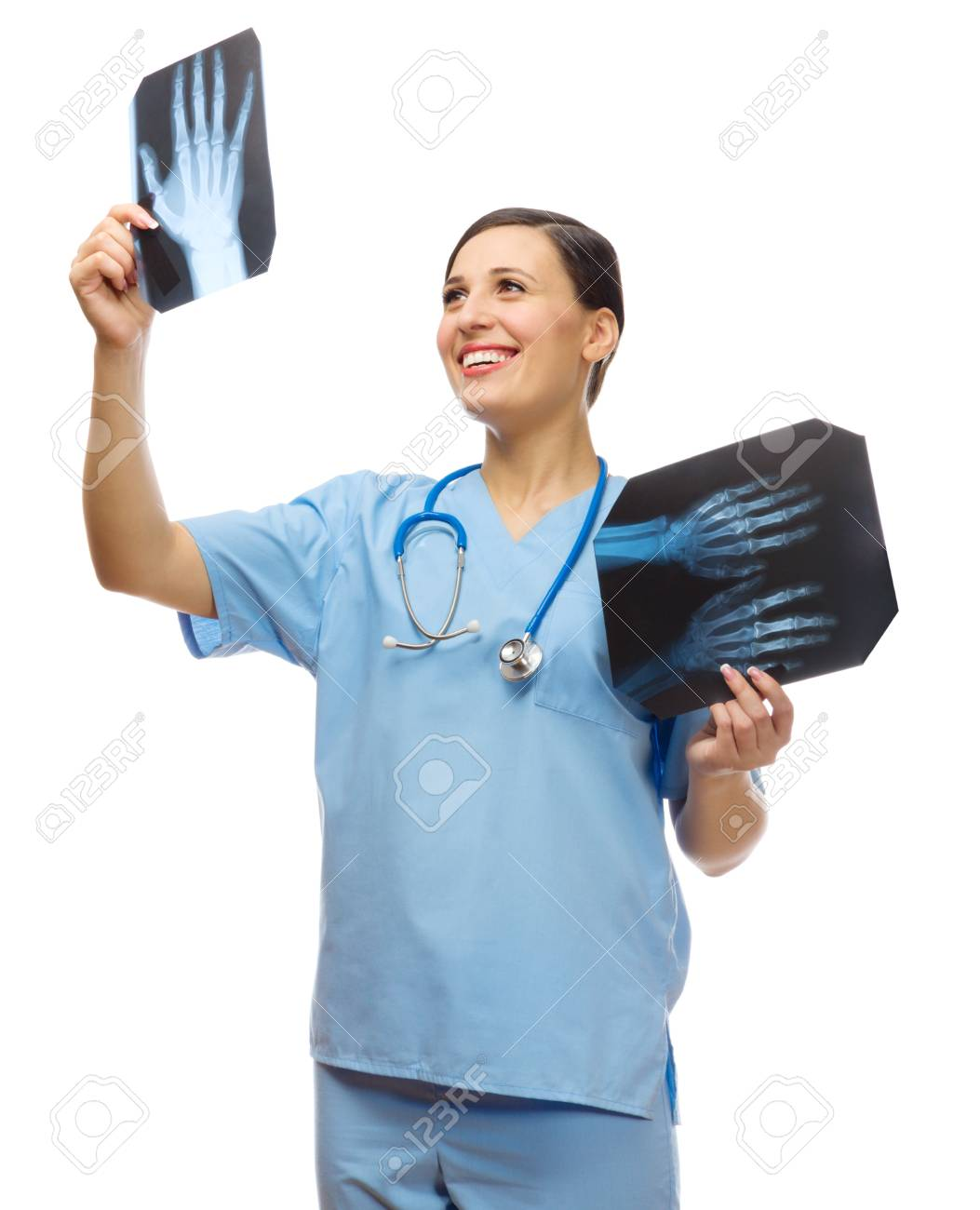 Young doctor with x-rays isolated Stock Photo - 18034815