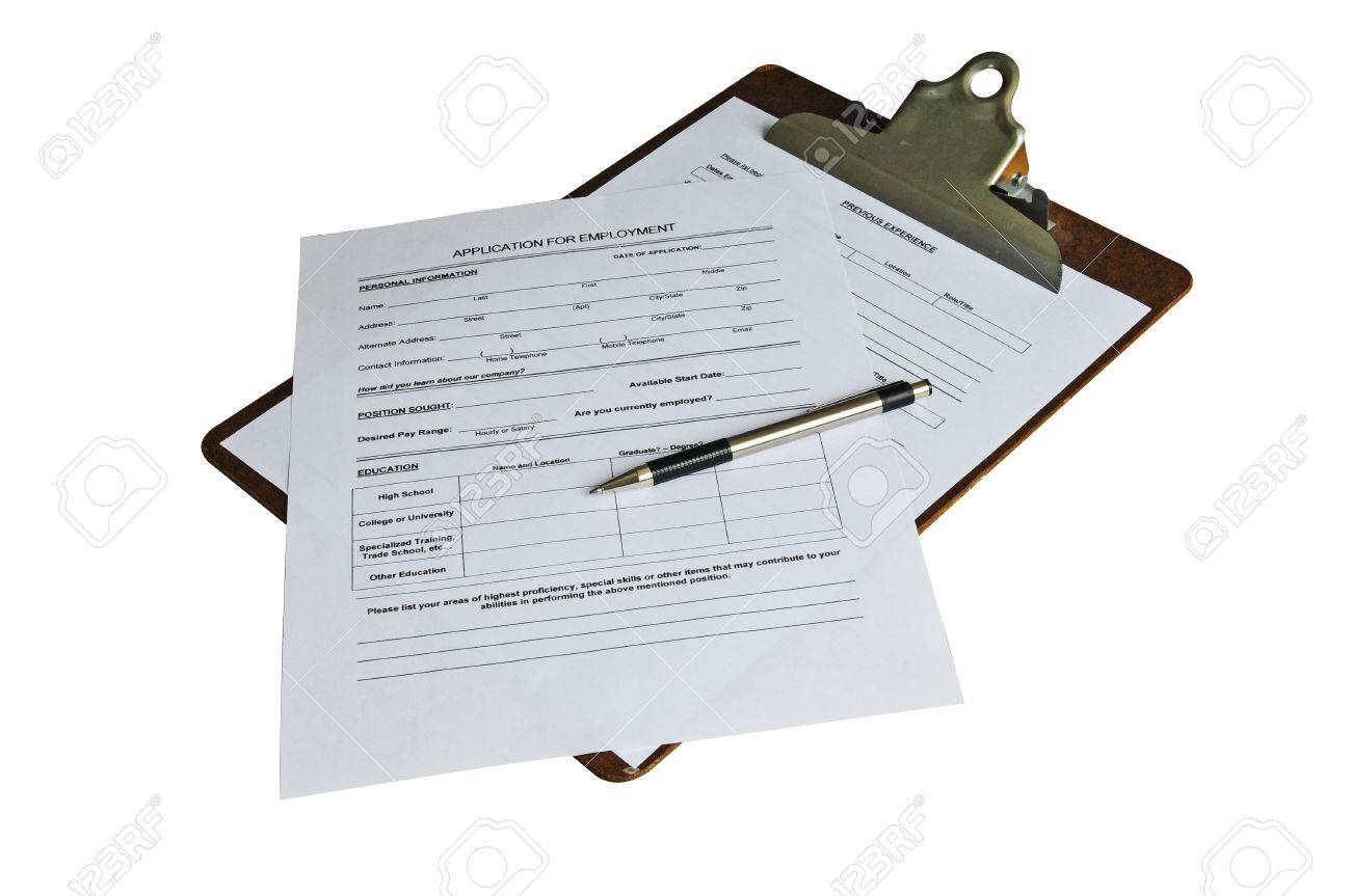application for employment and a pen ready to be filled out application for employment and a pen ready to be filled out isolated a clipping