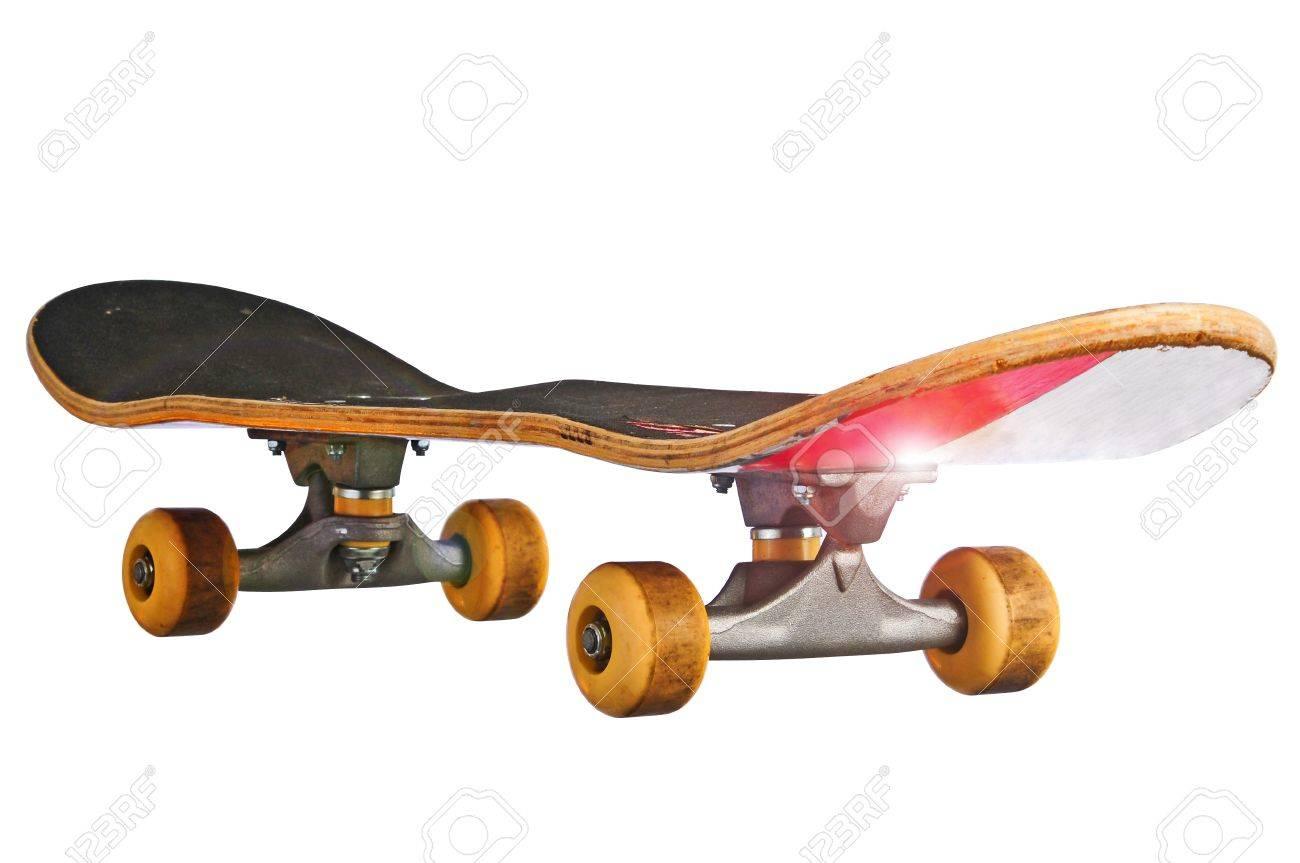 Skateboard at an oblique angle islolated Stock Photo - 9948774