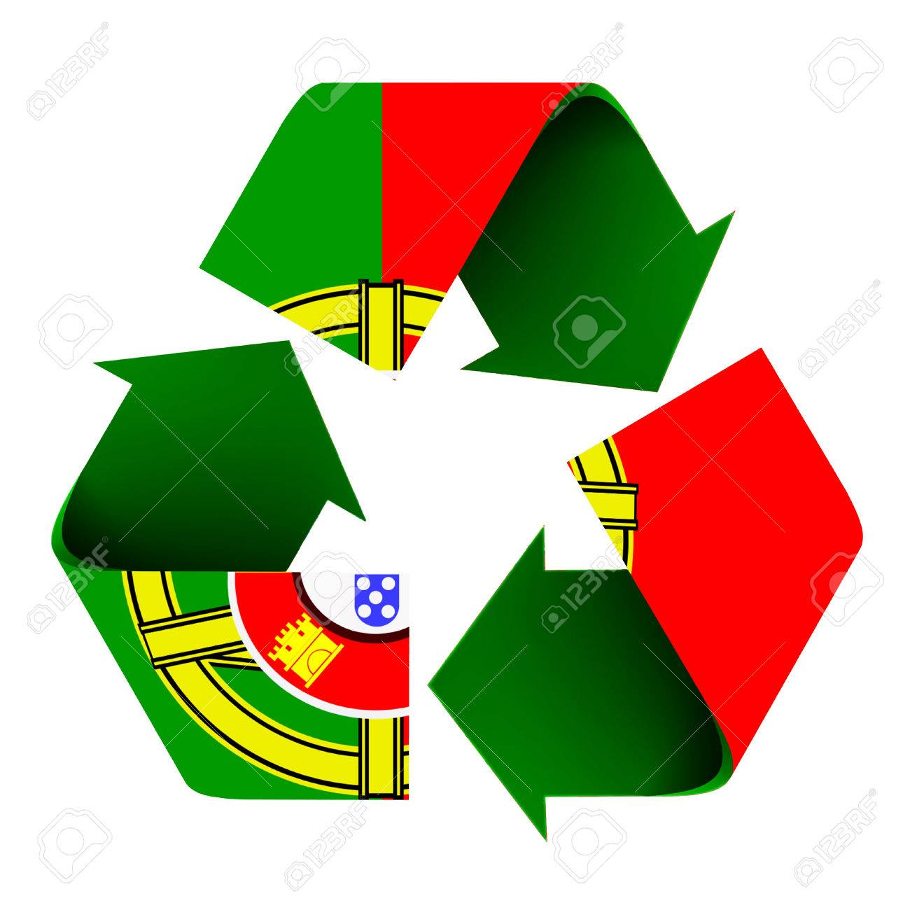 Flag of portugal superimposed on a recycle symbol isolated on flag of portugal superimposed on a recycle symbol isolated on a white background stock biocorpaavc Gallery