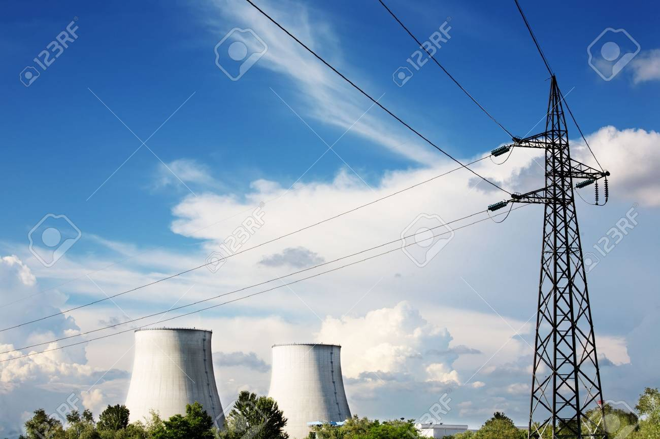 Power line of a nuclear power station; daylight. Stock Photo - 3142452