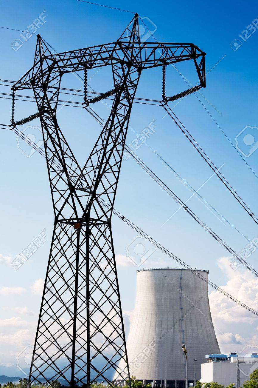 Power line of a nuclear power station; daylight. Stock Photo - 3142455
