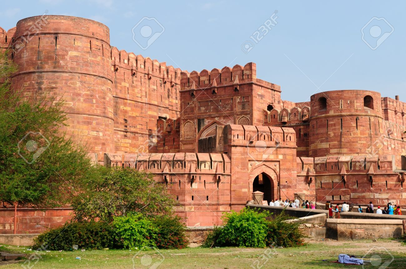 Red Fort in Agra, Amar Singh Gate,  India, Uttar Pradesh Stock Photo - 12001370