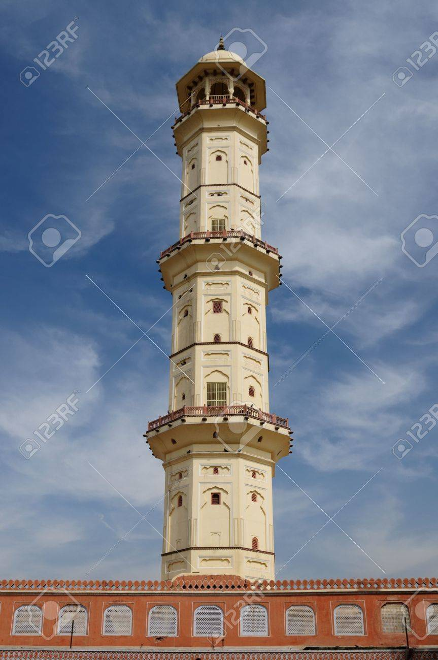 Heaven piercing minaret in Jaipur city in India. Rajasthan Stock Photo - 12098586