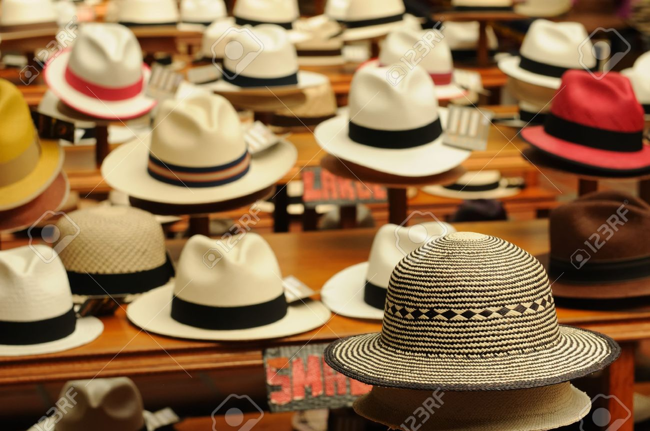 8654e09bc33331 Ecuador - Panama Hats, is a traditional brimmed hat made in Cuenca Stock  Photo -
