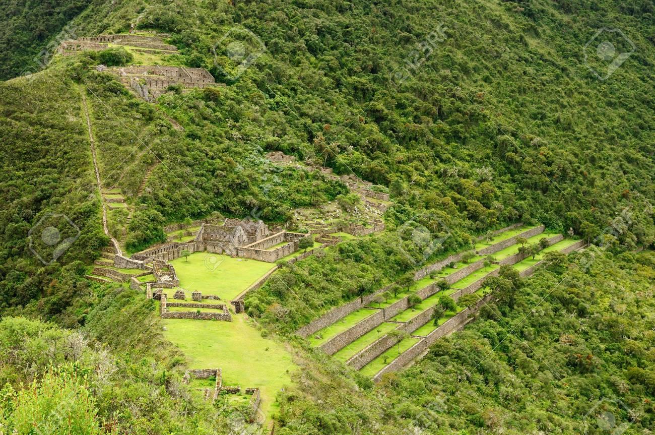 Choquequirao Es Un Sitio De Inca En El Sur De Perú Similar En Estructura Y Arquitectura De Machu Picchu Las Ruinas Son Edificios Y Terrazas En