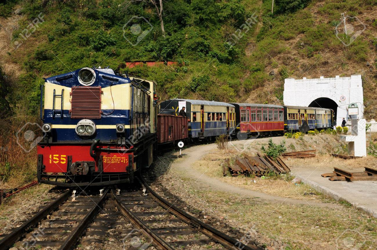 The mountain toy train from Kalka to Shimla. It is tourist attraction in India, with beautiful wiev on the Hymalaya mountains. UNESCO - 65027893