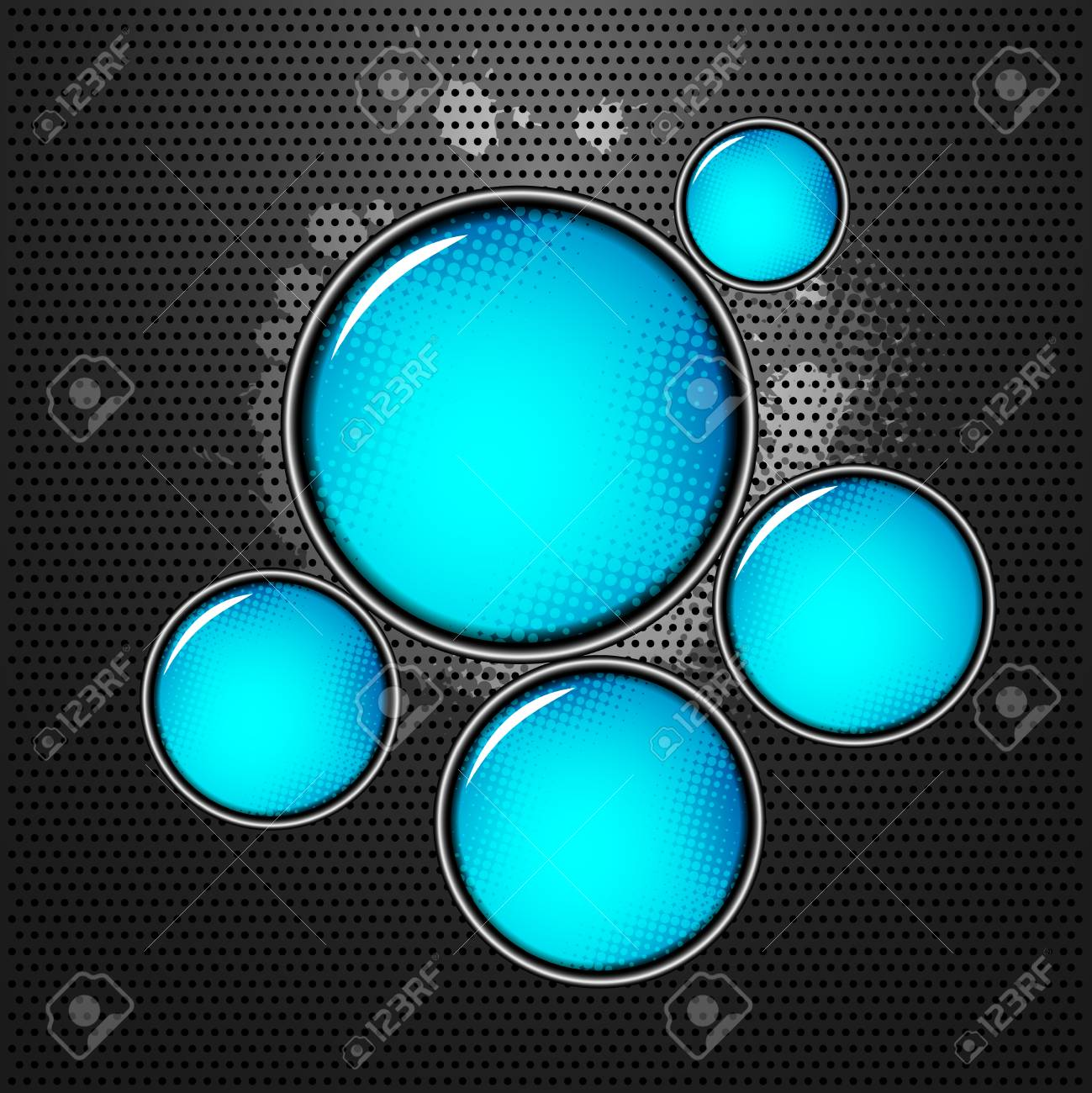 abstract shiny blue circles on metal background with blood splatters Stock Vector - 22893281