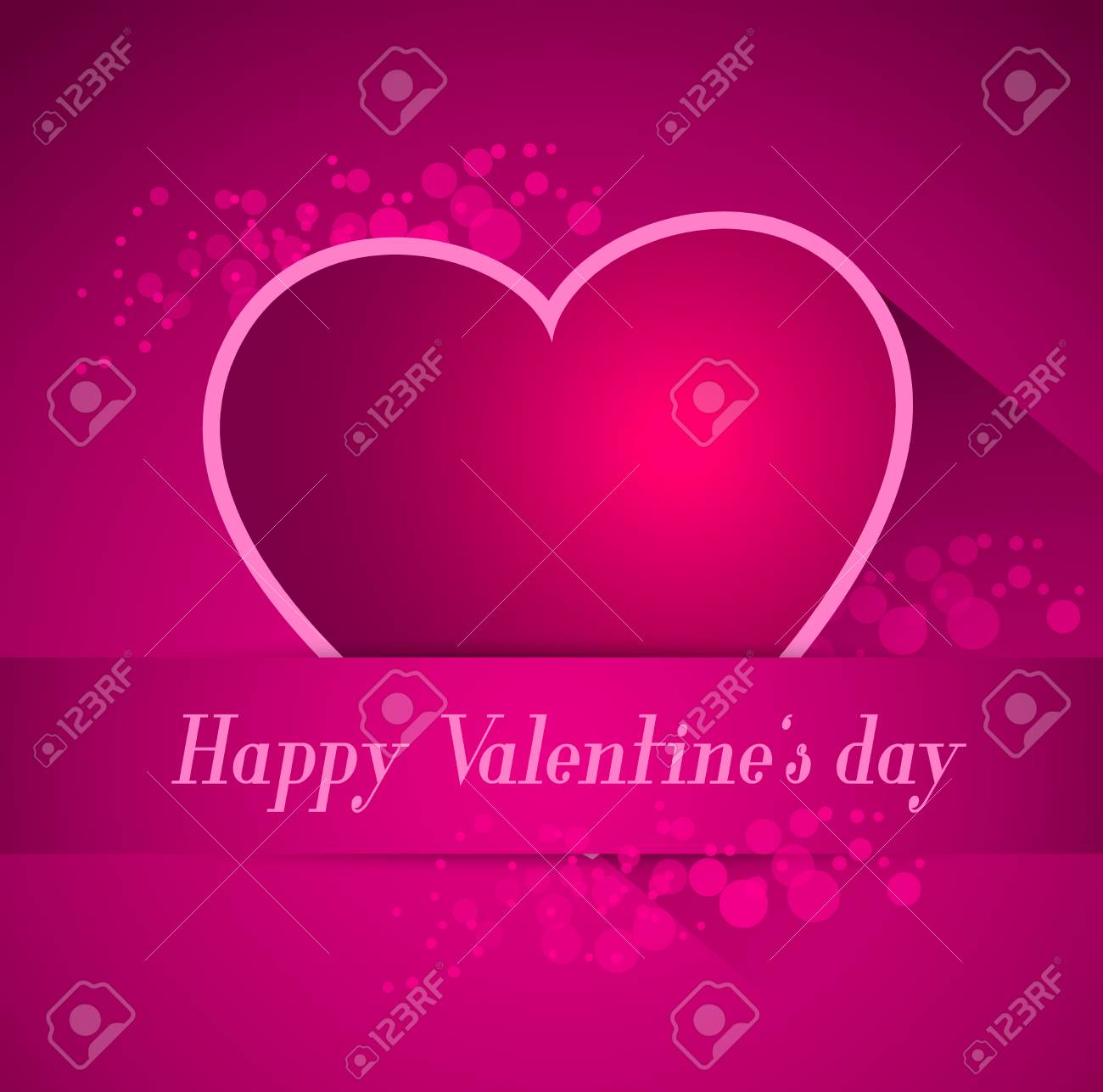 abstract valentine postcard with heart and long shadow effect