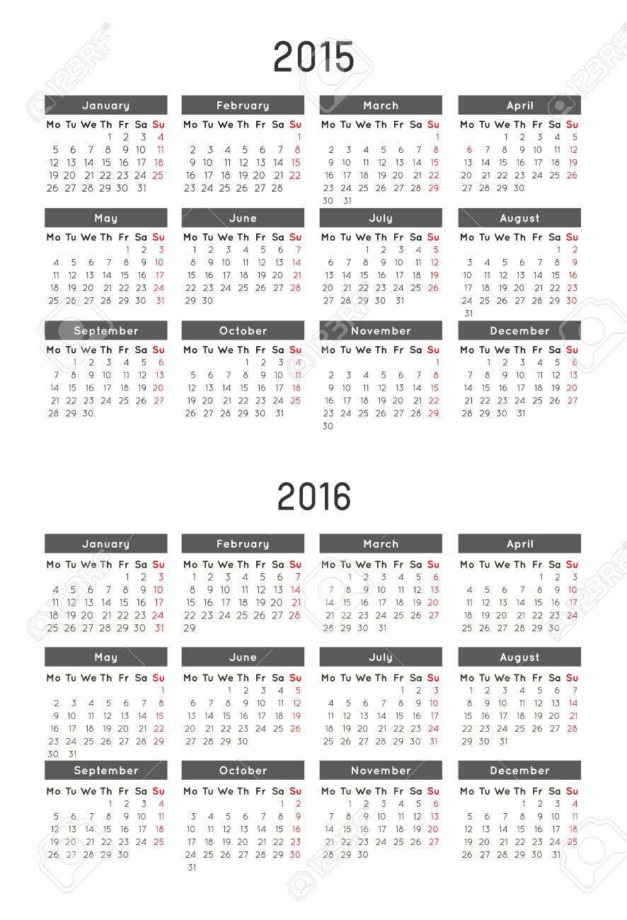 Calendario Plantilla Del Año 2015 Y 2016 Ilustraciones Vectoriales ...
