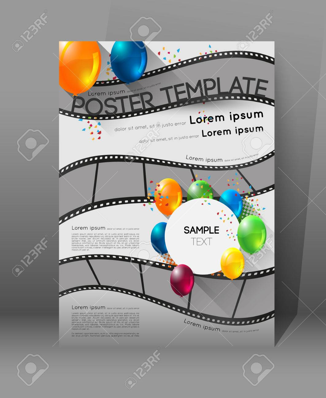 abstract movie poster template with film strips and colorful