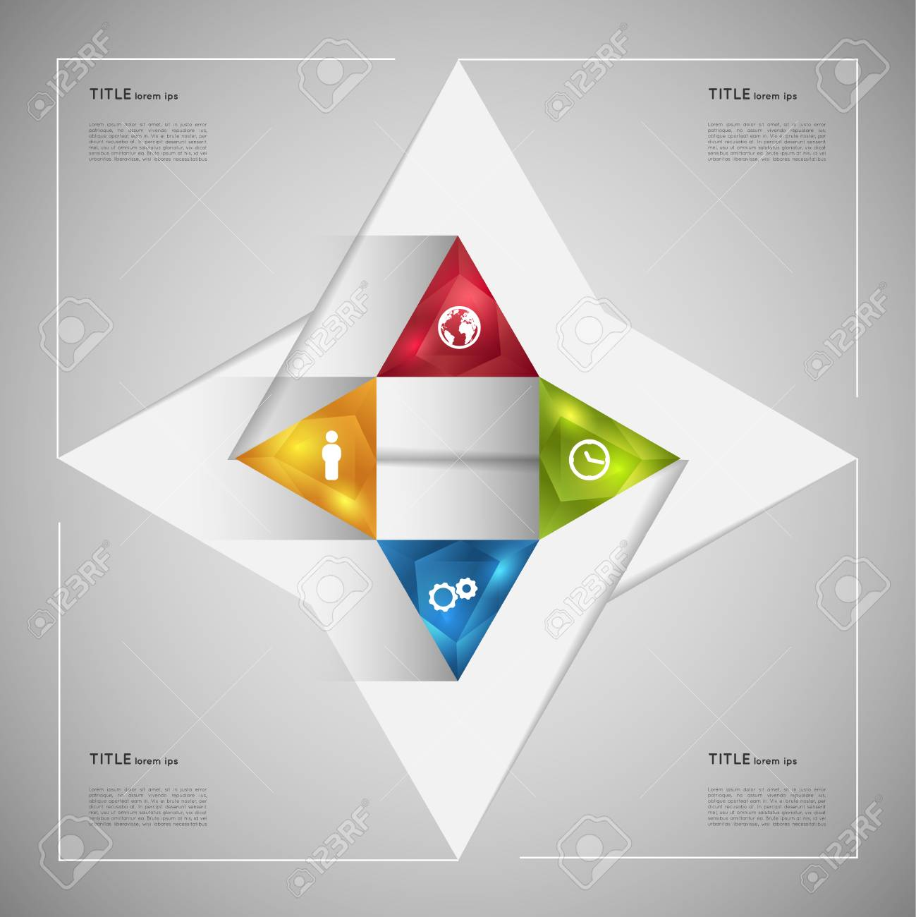 option infographic crystal triangles template graphic element
