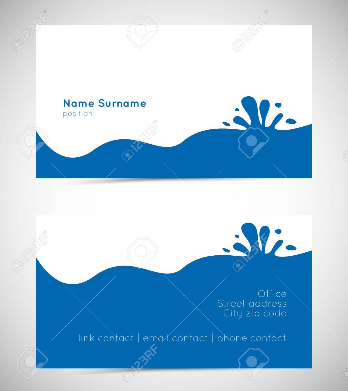 Business card template with water wave and splatter royalty free banco de imagens business card template with water wave and splatter reheart Gallery