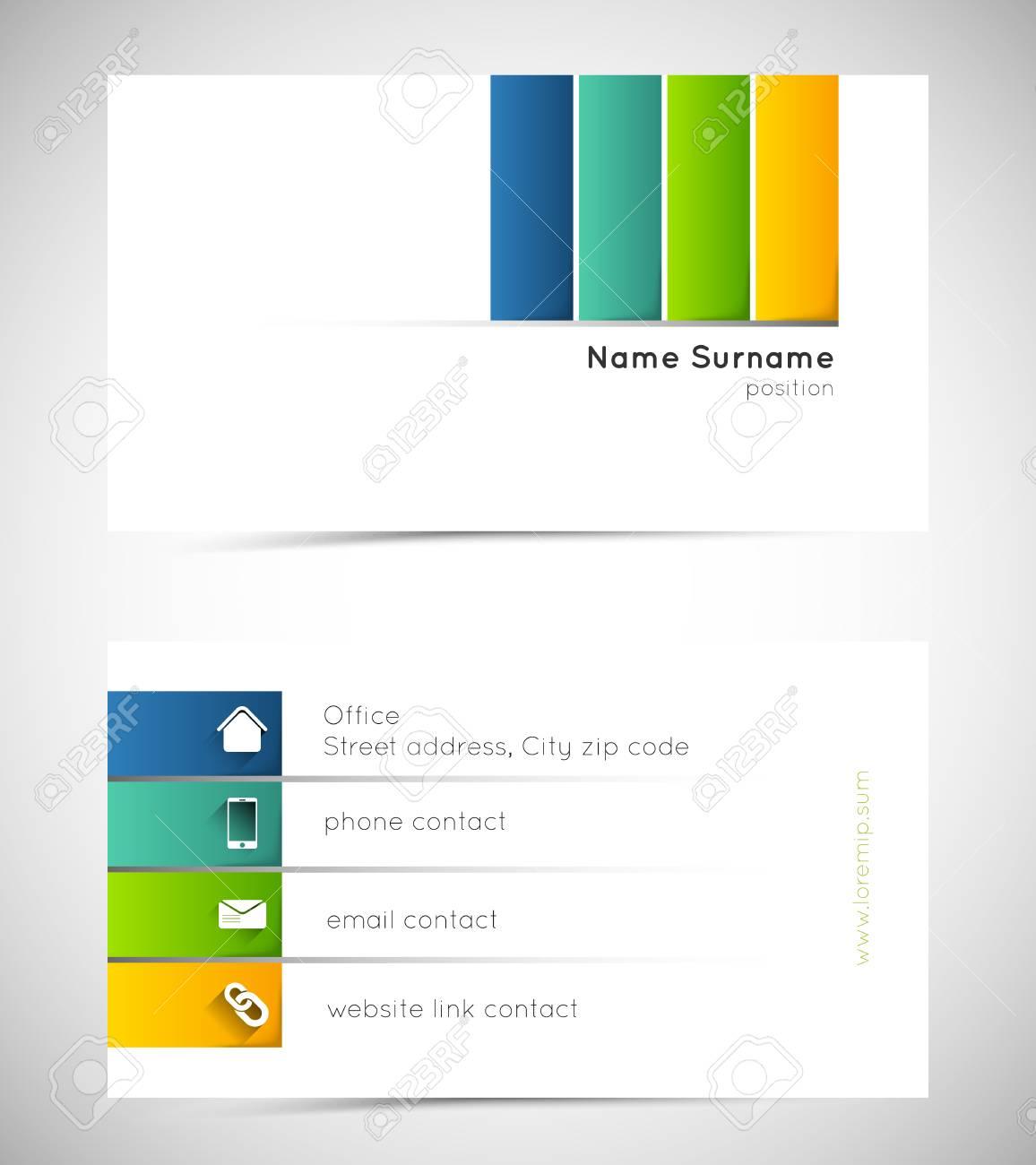 Modle De Carte Visite Avec Des Lignes Colores Et Icnes