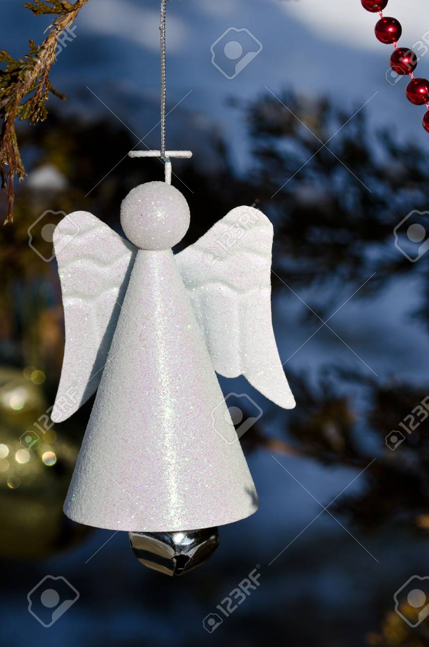 Stock Photo White Angel Christmas Ornament Decorating An Outdoor Tree