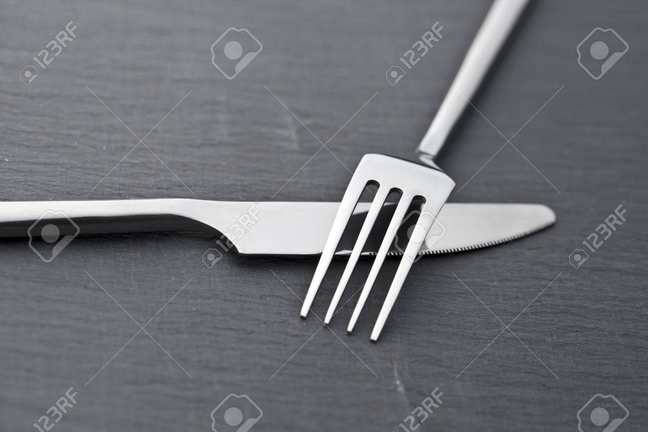 cutlery at stone slab restaurant Stock Photo - 10953038