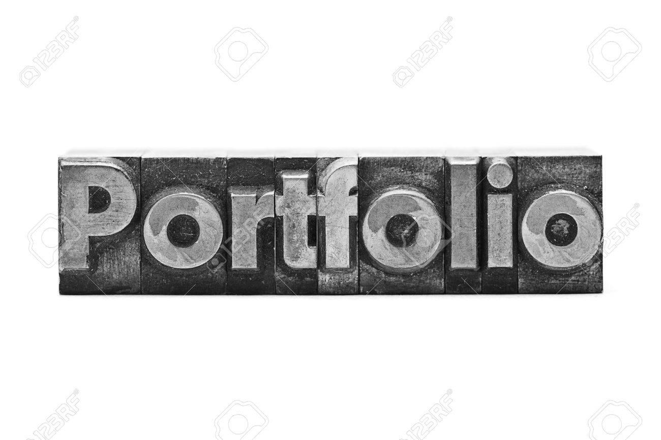 lead letter word portfolio on white background stock photo picture