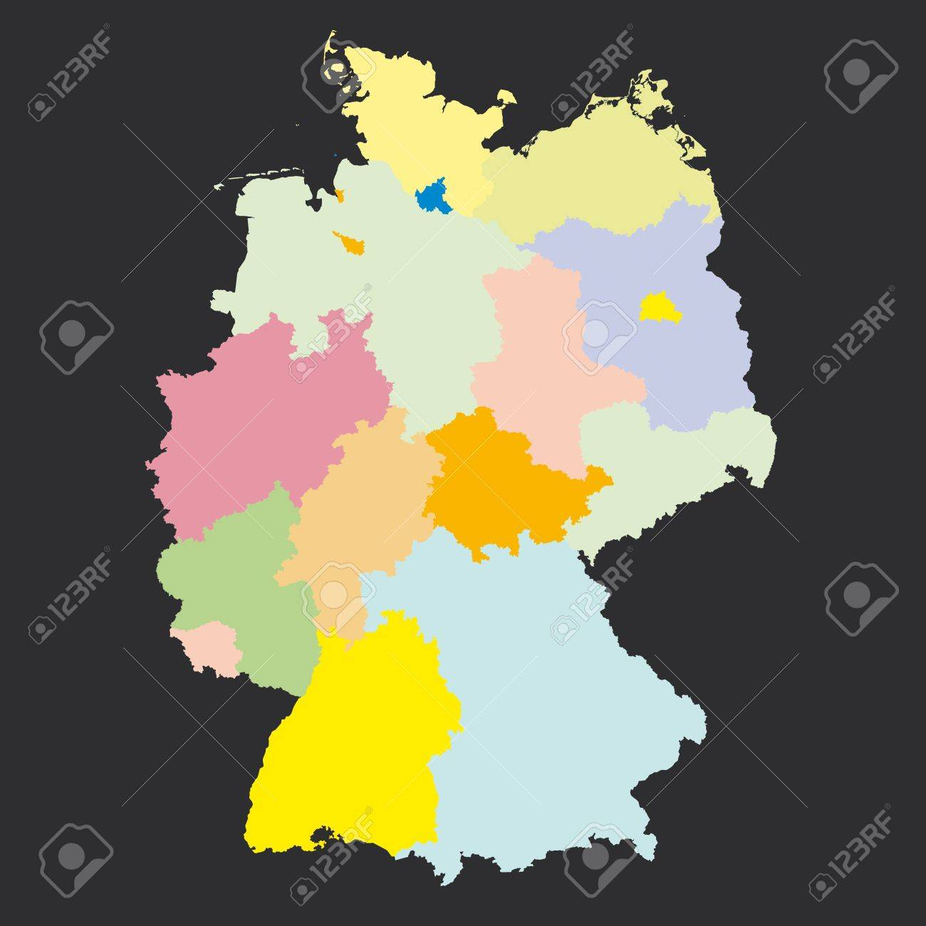 germany regions card map geo map brd federal republic of germany black red and gold stock