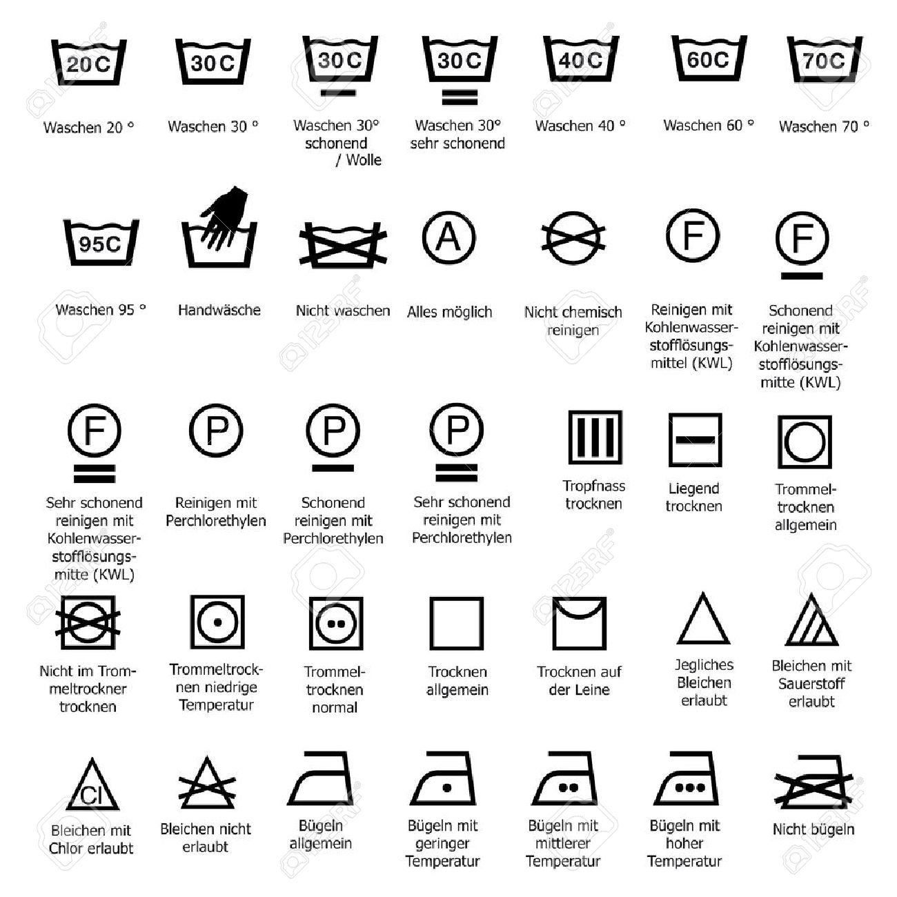 Textile Care Symbols Washing Dry Cleaning Smoothing Wash Sign Symbol Degree Stock Vector