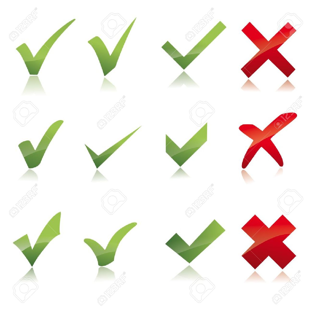 Vector Green  X check haken sign icon red X cross set Stock Vector - 12410951
