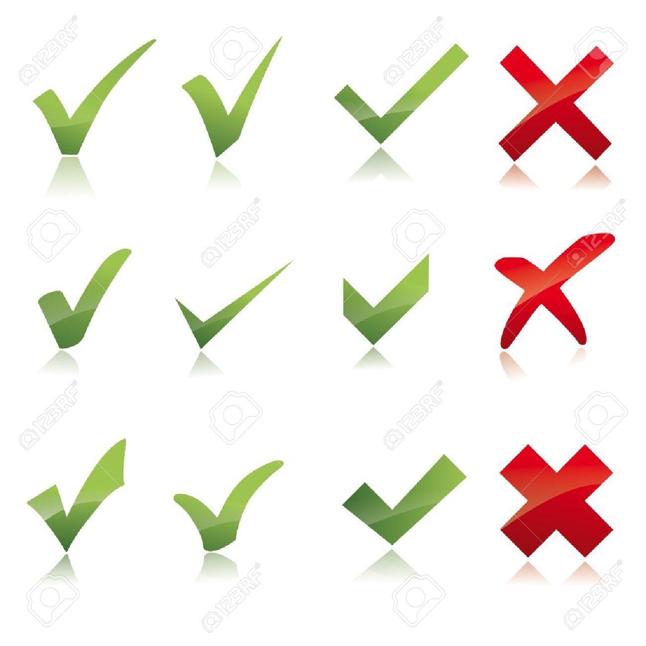 Vector Green X check haken sign icon red X cross set - 12410951