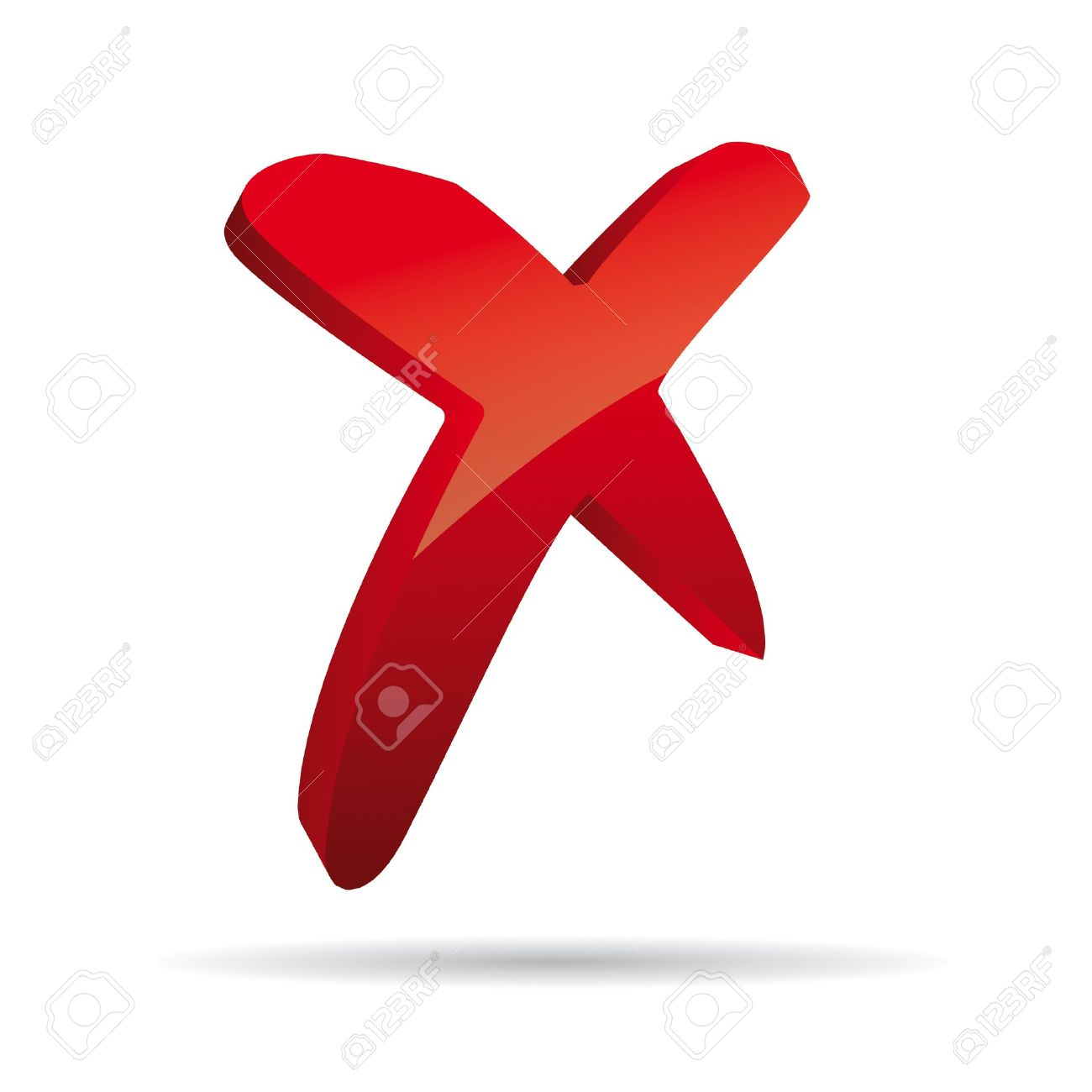 3D Vector red X cross sign icon Stock Vector - 12409931