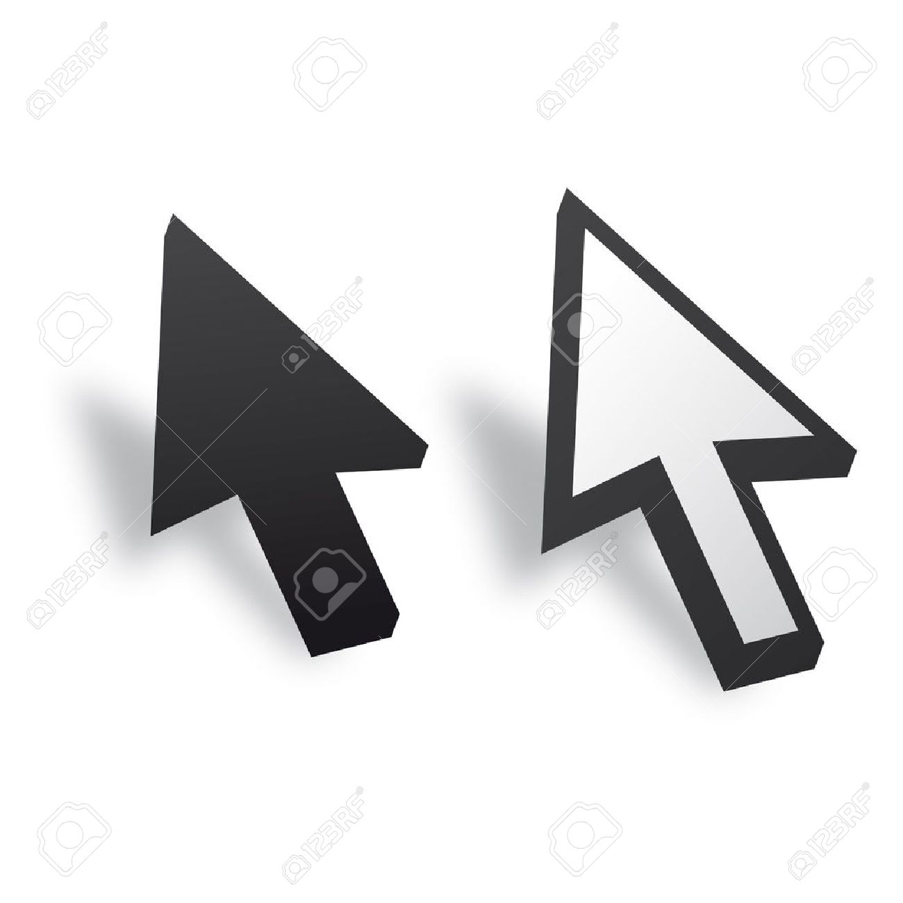 White and Black 3D Vector Mouse cursor Stock Vector - 12508180